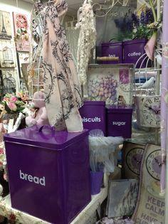 Purple Kitchen Storage Tins for Tea, Coffee, Sugar, Biscuits & Bread.