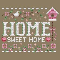 Quilt Stitching, Cross Stitching, Cross Stitch Embroidery, Cross Stitch House, Cross Stitch Tree, Cross Stitch Designs, Cross Stitch Patterns, Cross Stitch Pictures, Sweet Home