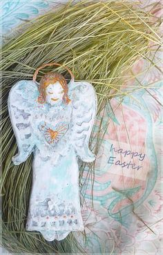 Angel Easter french country decor idea Shabby chic cottage vintage home rustic handmade white  provincial furniture unique angel gifts fairy