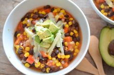 Black Bean and Corn Chilli with Avocado Salsa by theendlessmeal: Easy comfort food!  #Chili #Black_Bean #Avocado