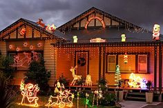 Christmas Decorations In Australia Glenroy, Victoria, Australia, Christmas lights Christmas Light Show, Hanging Christmas Lights, Modern Christmas, Holiday Lights, Christmas 2014, White Christmas, Christmas Trees, Months In A Year, 6 Years