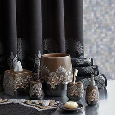 Bathroom Accessories Elegant croscill argosy bath collection - marbled mocha with sculpted