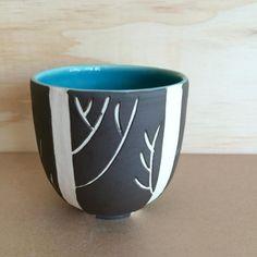Tea Cup Woodlands Black and Aqua