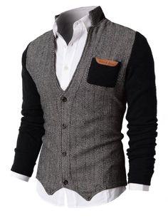 Mens Herringbone Cardigan Sweater Of Knitted Sleeves