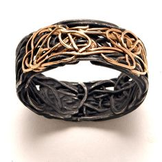 Steel wire and 18k gold caligraphy band - from Pistachio's Gallery, Chicago
