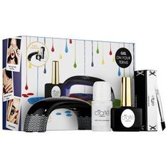 Ciat Geltox Starter Kit by Ciat. 0.42 oz Geltox® Top Coat. LED UV lamp. Hoof stick. 1.05 oz Geltox Cleanser. 4-way Buffer.