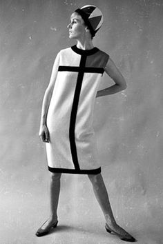 In 1965, Yves Saint Laurent designed shift dresses inspired by Piet Mondrian.Mondrian's asymmetry, simple planes and forceful lines translated perfectly into the modern designs of the 1960s.