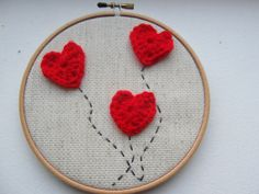 Red Balloons  Hoop Art by HERTrinkets on Etsy, $14.00