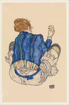 Seated Woman, Back View1917  Watercolor, gouache, and graphite on paper  18-1/4 x 11-3/4 in.  Egon Schiele