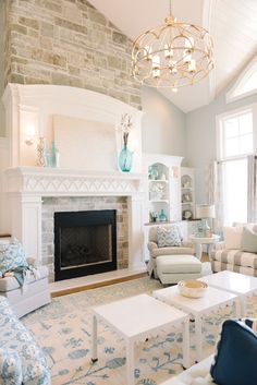 Gorgeous fireplace and cabinets! Paint Info (Benjamin Moore) Family Room - Picnic Basket House of Turquoise: Dream Home Tour - Day One House Of Turquoise, Turquoise Accents, Blue Accents, Home Fireplace, Fireplace Design, Fireplace Ideas, Fireplace Stone, Fireplaces, Fireplace Moulding