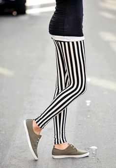 Vertical Black and White Stripe Leggings/Yoga Leggings