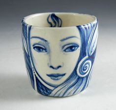 Little+blue+and+white+porcelain+cup+with+faces+by+PSPorcelain,+$28.00