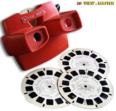 A View-Master and its thin cardboard disks contained seven stereoscopic pairs of small color photographs on film. The View-Master was introduced in four years after the advent of Kodachrome color film.