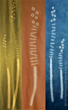 Shibori triptych of grasses. Using ori-nui stitching and small beads sewn in, dyed with yellow ochre and indigo to create the green, madder to make the brown and indigo for the blue panel. All by Townhill Studio.