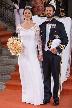 Prince Carl Philip and Princess Sofia of Sweden, Duchess of Värmland, were married June 13, 2015.  Complementing her gown was a cascade-style bouquet of cream and coral garden roses with a traditional sprig of myrtle from Sofiero. Since 1935, Swedish royal brides have worn a sprig from the myrtle bush, which was brought from England to Sweden by Princess Margareta in the early 20th century, in their hair or have included it in their bouquets