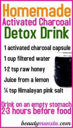 Activated Charcoal Juice Recipe - beautymunsta - free natural beauty hacks and more! Detox Diet Drinks, Detox Juice Recipes, Natural Detox Drinks, Fat Burning Detox Drinks, Detox Juices, Cleanse Recipes, Drink Recipes, Activated Charcoal Detox Drink, Liver Detox