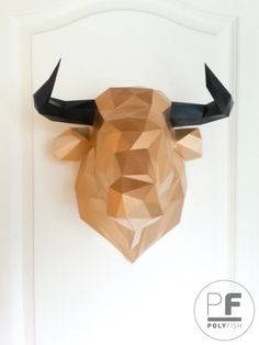 Bull Head Paper Origami Wall Hanging Papercraft Lowpoly DIY Template PDF
