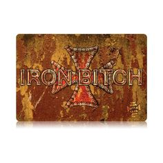 From the Legend Wear licensed collection, this Iron Bitch vintage metal sign measures 18 inches by 12 inches and weighs in at 2 lb(s). We hand make all of our vintage metal signs in the USA using heavy gauge american steel and a process known as sublimation, where the image is baked into a powder...