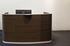 Recptiondesk at Købstædernes Forsikring. Impact reception desk Cardboard front, painted steel and solid bamboo   Receptionsdisk pap front, stål top og bambus plade Sustainable, bæredygtig, curved reception desk, buet receptionsdisk