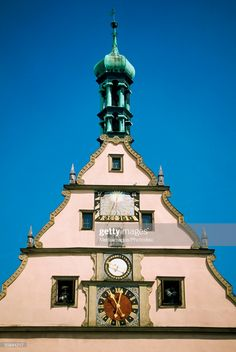 View top-quality stock photos of High Section View Of Ratstrinkstube With Clock Rothenburg Bavaria Germany. Find premium, high-resolution stock photography at Getty Images. Beautiful Architecture, Architecture Design, Unusual Clocks, Antique Clocks, Bavaria Germany, Nature Photography, Buildings, Places To Visit, Tower
