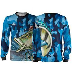 Camisa Pesca Máscara Quisty Tucunaré Azul Camuflado Proteção 50 UV - Azul Plus  Size - Camiseta 65d635239d452