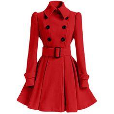 Rotita Belt Embellished Double Breasted Red Coat