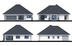 Projekt domu Lupo II , wizualizacja 3 Panorama 360, Modern Family House, Modern Bungalow, House Entrance, Home Fashion, Ground Floor, Building A House, House Plans, Shed