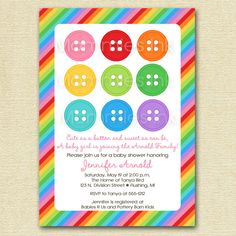 rainbow cute as a button baby shower invitation printable invitation design