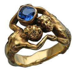 Attributed to Henry-Ernest Dabault...Zeus and Hera, Fantastic Art Nouveau Ring, 1902, Tadema Gallery.