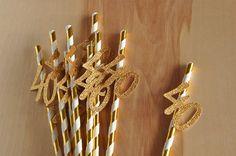 40th Birthday Decoration Straws 10CT. by ConfettiMommaParty