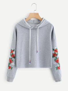 Drop Shoulder Rose Embroidered Sleeve HoodieFor Women-romwe