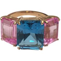 Preowned Bright Blue And Bright Pink Topaz Emerald Cut Three Stone... ($2,600) ❤ liked on Polyvore featuring jewelry, rings, cocktail rings, pink, topaz cocktail ring, pre owned rings, emerald cut cocktail ring and pink jewelry