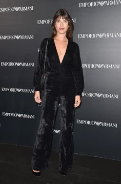 Jeanne Damas attends the Emporio Armani show as part of the Paris Fashion Week Womenswear Spring/Summer 2017  on October 3, 2016 in Paris, France.