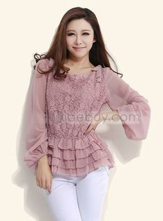Shop Modern Attractive Pure Color Lace Large Size Chiffon Blouse on sale at Tidestore with trendy design and good price. Cheap Womens Tops, Womens Trendy Tops, Blouse Styles, Blouse Designs, Hijab Styles, Hijab Fashion, Fashion Dresses, Blouses For Women, Ideias Fashion