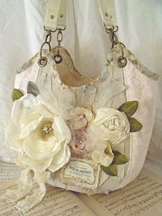 The Shabby Tea Room: Week - 'Antique Roses' Sacs Tote Bags, Shabby Chic, Diy Sac, Antique Roses, Fabric Bags, Ribbon Embroidery, Handmade Bags, Handmade Flowers, Handmade Bracelets