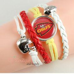 Kansas City Chiefs faux suede leather braclet by CSBoutiqueandSupply Cute  Bracelets 04d4a3387
