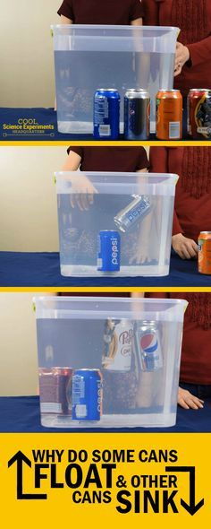 "Floating & Sinking Cans - It's time for another 'Does It Float?"" science experiment. This time we use cans that are the same size, shape and volume. But some float and others sink....WHY? #CoolScienceHQ #Science #ScienceExperiments"