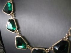 #Faux emeralds make a stunning necklace.