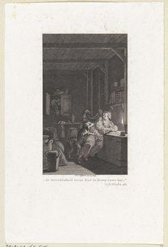 Reinier Vinkeles | Terwijl Reinhart bij kaarslicht zit te schrijven komt zijn hond bij hem, Reinier Vinkeles, 1791 - 1792 |