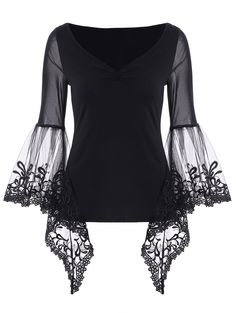 Bell Sleeve Sheer Lace Panel T-Shirt