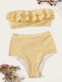 Striped Ruffle Bandeau With High Waist Bikini - Hot Colors-Yellow Swimwear - Blumen Bandeau Outfit, Swimwear Fashion, Bikini Swimwear, Swimsuits, Curvy Swimwear, Bandeau Bikini, Bikini Ready, Summer Suits, Striped Bikini