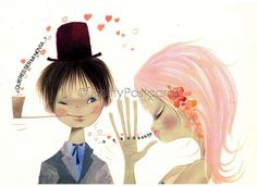 Vintage 70s Postcard of a sweet Big Eyed Girl and Boy by Tamoro - Would you like to be my Girl Friend | by PrettyPostcards