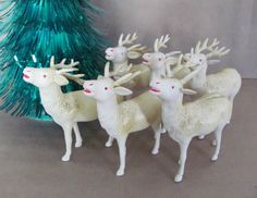 Vintage Christmas Reindeer Set, 1940's Celluloid Reindeer, Plastic Vintage Reindeer Figurines, Occupied Japan, Christmas Decor, Decoration