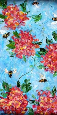 """""""Fat bumblebees work on pink hydrangea blossoms. Pollen-stuffed britches. Days grow shorter, blossoms fade. Honey enough for the winter?"""" - Frances King"""