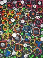 Empreintes de peinture, objets divers, couvercles, bouchon