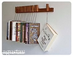 Custom made wooden book rack in dark Oak Movable by OldAndCold, $199.00