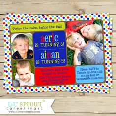 33 best dual birthday parties images on pinterest in 2018 boy joint birthday party invitation twin boy printable birthday invitation boys dual birthday invitation boy combined invitation filmwisefo