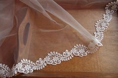 off white lace trim with retro floral bridal lace trim by LaceFun
