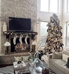 Beautiful family living room in black and white ready for Christmas @Whistiques