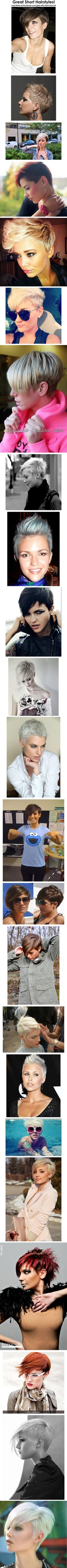 Great Short & Pixie Hairstyles! I really don't think I'll ever grow my hair out again, I just love it short so so much! Shave the sides and growing the top out like I am is about as close as I'll ever get, and when I can style it so many different ways like this shows why would I!?? LOL